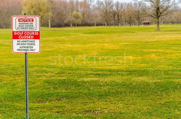 Golfbaan gesloten teken seizoen Stockfoto © brm1949