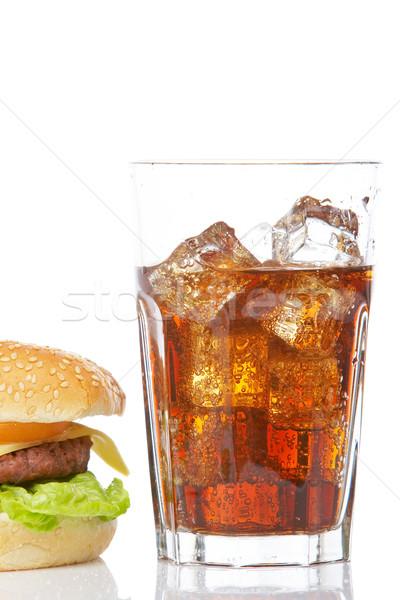 Foto d'archivio: Cheeseburger · soda · vetro · cena · energia · bolle