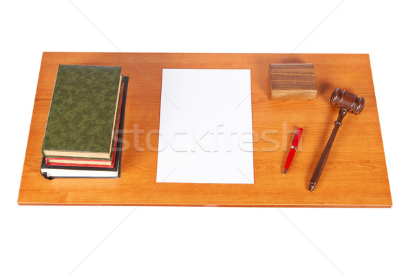 Wooden gavel and law books Stock photo © broker