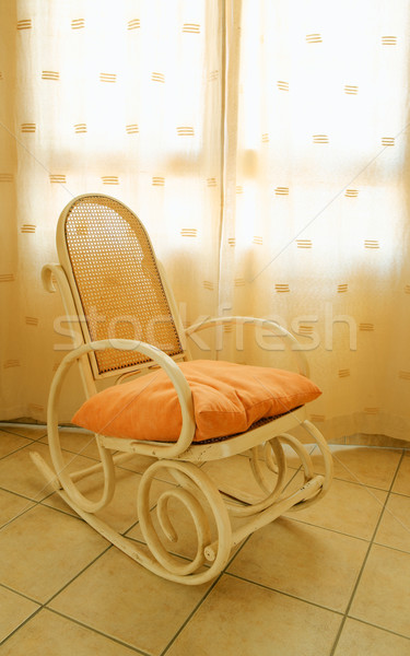 Antique bois rocking chair fenêtre printemps Photo stock © broker