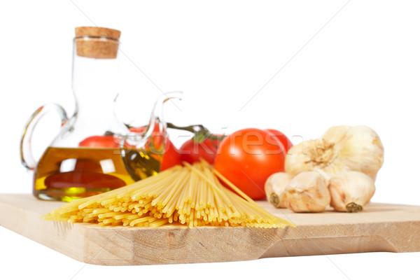 Tomates azeite alho espaguete isolado branco Foto stock © broker