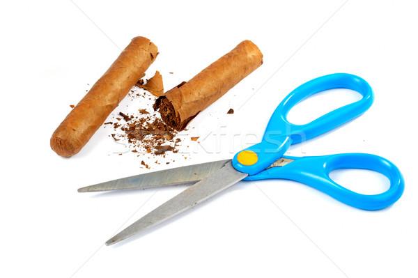 Schaar gebroken cubaans sigaar witte Stockfoto © broker
