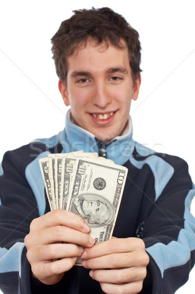 Tonen fan geld knap tiener focus Stockfoto © broker