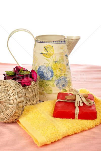 Bagno accessori prodotti di bellezza bianco poco profondo Foto d'archivio © broker
