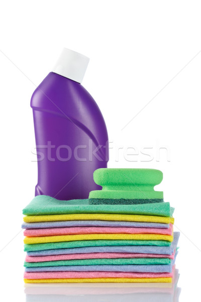 Plastic detergent bottle and sponges Stock photo © broker