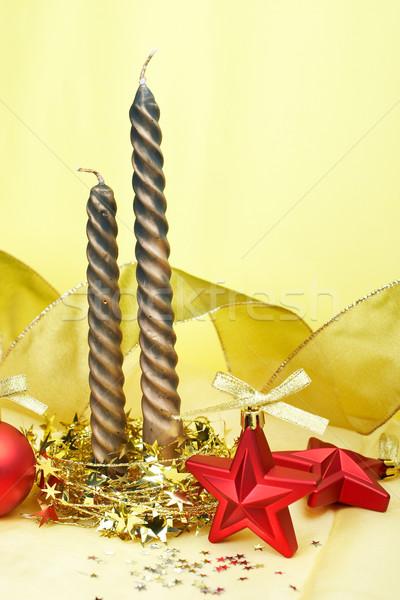 Velas natal decoração estrelas amarelo Foto stock © broker
