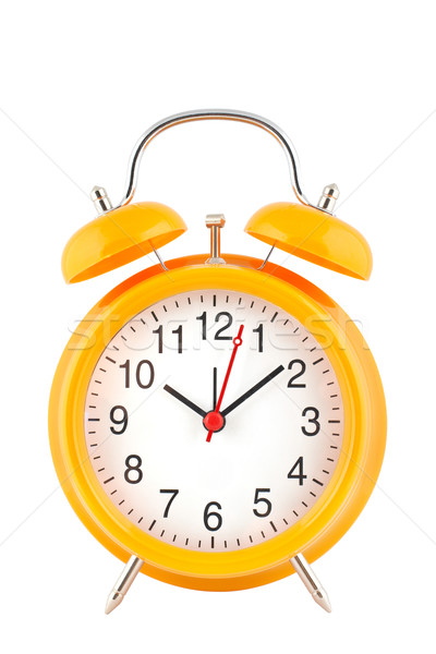 Foto stock: Amarelo · despertador · topo · isolado · branco · tempo