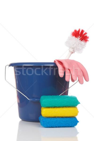 Limpeza ferramentas plástico balde branco raso Foto stock © broker