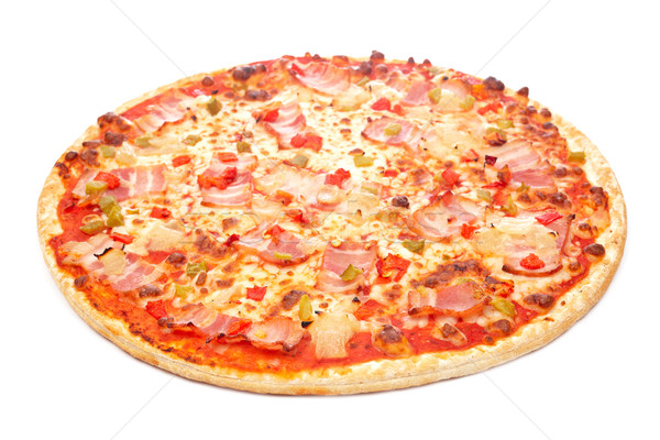 Pizza saboroso italiano isolado branco raso Foto stock © broker