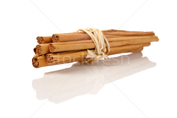 Stockfoto: Kaneel · string · witte · ondiep · voedsel