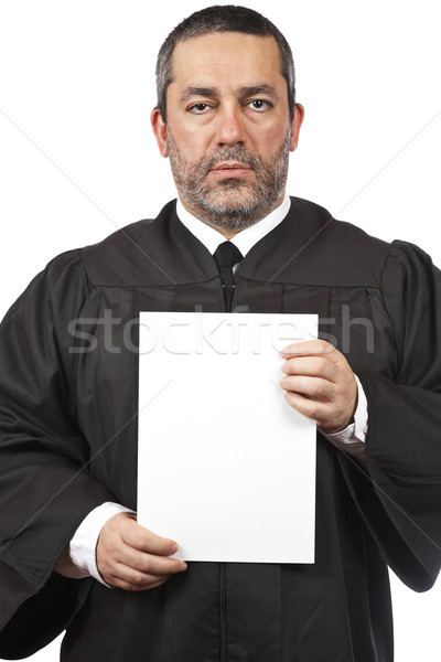 Serious judge holding the blank card Stock photo © broker