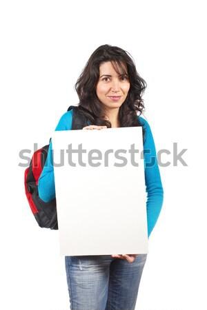 Boş kart genç öğrenci kadın sırt çantası Stok fotoğraf © broker