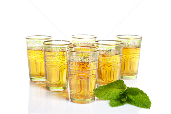 Some glass cups of tea with leaves of mint Stock photo © broker