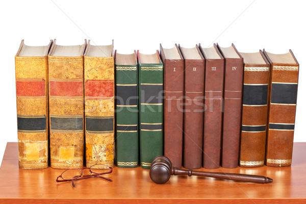 木製 小槌 古い 法 図書 裁判所 ストックフォト © broker