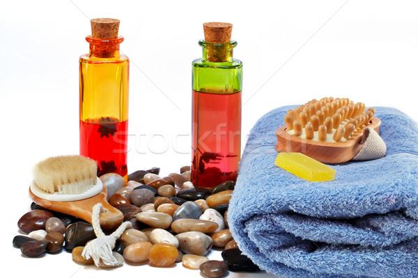 Fürdőkád kellékek szépségipari termékek egészség jóga fürdőszoba Stock fotó © broker