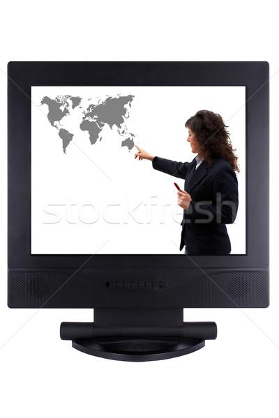 Business rond wereld paneel lcd Stockfoto © broker