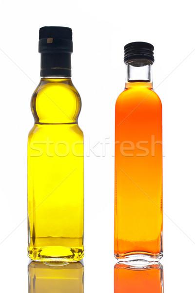 Stock photo: Bottles of olive oil and vinegar