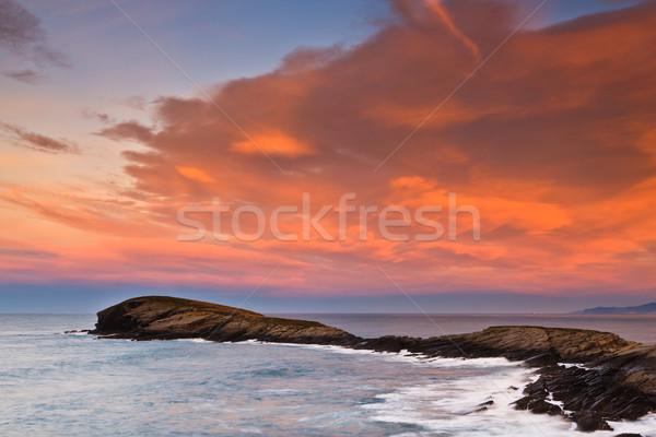 красивой морской пейзаж закат зима воды пейзаж Сток-фото © broker