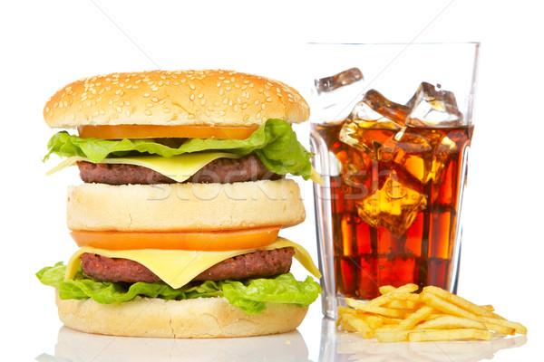 Doble hamburguesa con queso sosa beber blanco Foto stock © broker