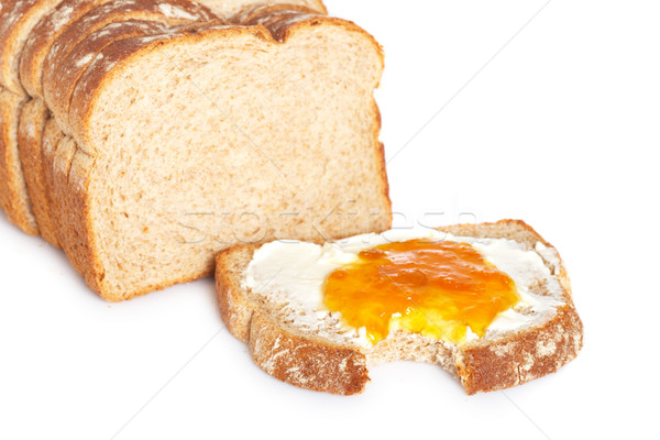 Toast with butter and peach jam Stock photo © broker