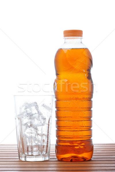 Buzlu çay boş cam şişe ahşap sığ Stok fotoğraf © broker