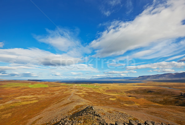 View from Borgarvirki, ancient fortress of basalt strata between Stock photo © broker