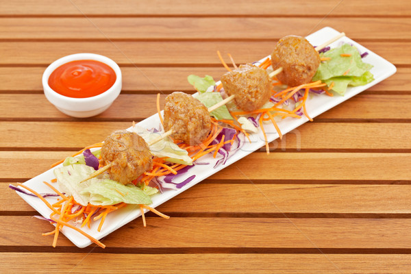 Meatballs skewer Stock photo © broker