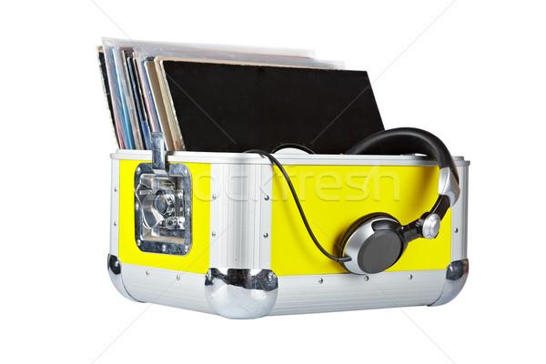 Discotecário caixa fones de ouvido velho isolado branco Foto stock © broker