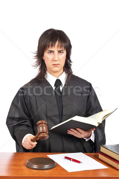 ítélet női bíró tárgyalóterem kalapács sekély Stock fotó © broker