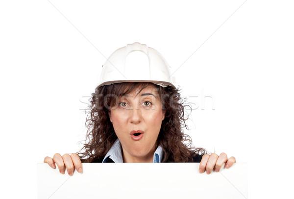 удивленный женщины архитектора за белый карт Сток-фото © broker