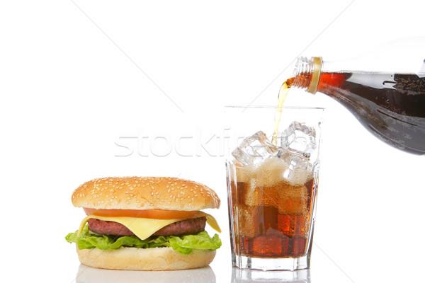 Foto d'archivio: Cheeseburger · soda · lattuga · pomodoro · vetro