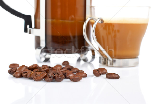 Cup and coffee pot and beans Stock photo © broker