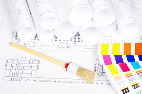 Stockfoto: Penseel · kleur · begeleiden · huis · plan · home