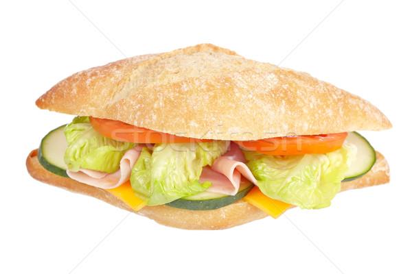 Foto stock: Delicioso · sándwich · lechuga · tomates · pepino · jamón