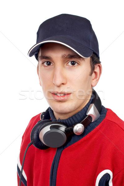 Diskjokey portre kulaklık beyaz el adam Stok fotoğraf © broker