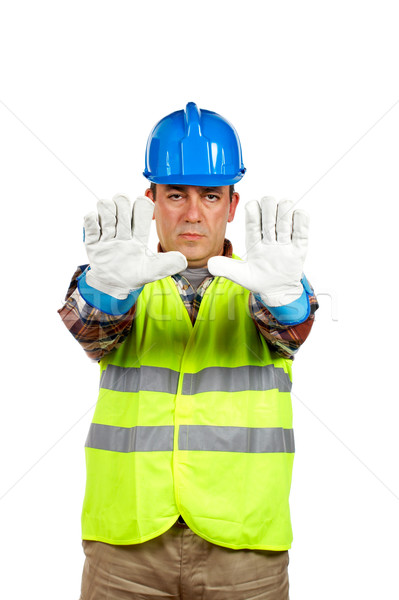 Construction worker with gloves, order to stop Stock photo © broker