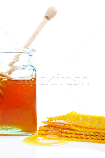 Honey jar and honeycomb Stock photo © broker