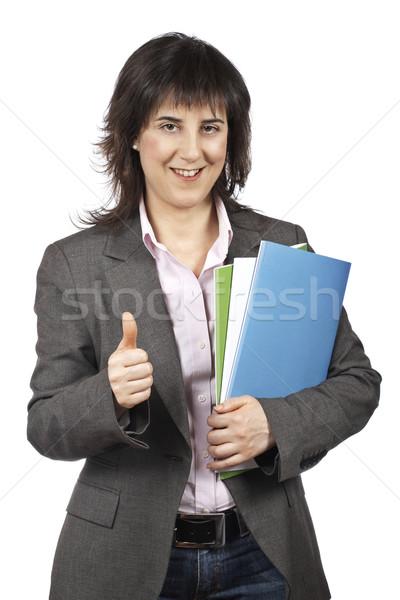 Ocupado mujer de negocios archivos blanco Foto stock © broker