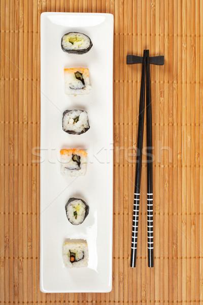 Sushi branco prato bambu raso Foto stock © broker