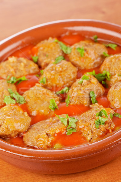 Fresh meatballs with parsley Stock photo © broker