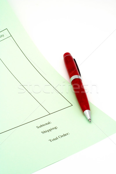 Close up Blank invoice with pen on white background Stock photo © broker