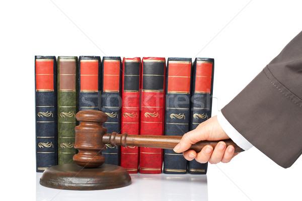 Sędzia ogłosić werdykt kobieta biały płytki Zdjęcia stock © broker