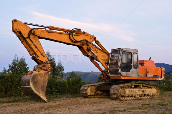 Stock fotó: Buldózer · nagy · narancs · építkezés · égbolt · Föld