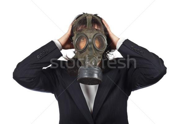 опасность деловой женщины противогаз изолированный белый женщину Сток-фото © broker