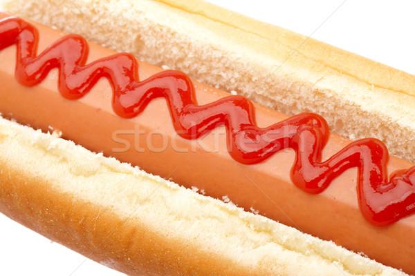 Hot dog ketchup isolato bianco poco profondo pane Foto d'archivio © broker