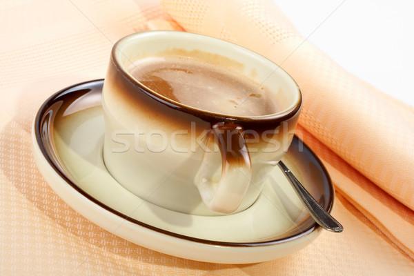 Tasse café cuillère céramique plaque Photo stock © broker