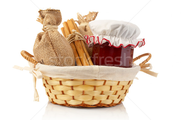 Stock photo: Jam jar, sticks of cinnamon and burlap