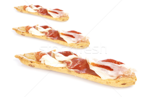 Fatias espanhol presunto saboroso branco foco Foto stock © broker