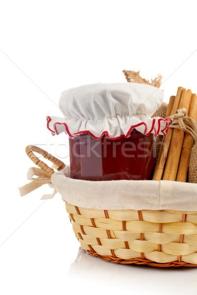 Stockfoto: Jam · jar · kaneel · jute · mand · voedsel