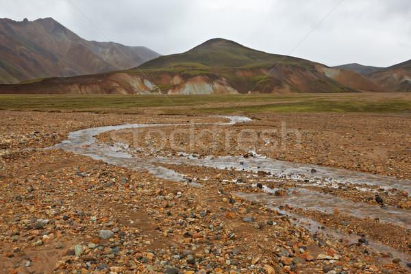 Multicolored rhyolite mountains in Landmannalaugar Stock photo © broker